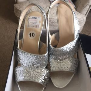 Nine West Silver Sparkle Heels..NWT